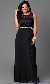 plus size long black dresses jeweled waist long formal plus size dress with lace
