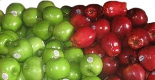 green and red apples. the arkansas black are such a dark shade of red they can look black. slightly tart, and good for eating, baking sauce. green apples l