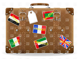 old leather suitcase with travel labels vector image vector ilration of objects konturvid to zoom