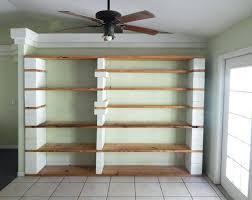 wood and cinder block shelves concrete block book shelves