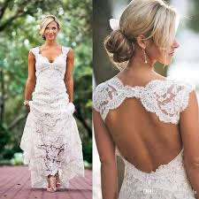 2017 full lace wedding dresses country style pluging v neck cap