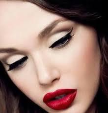 exotic makeup timeless makeup red lipstick winged eyeliner