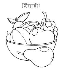 Kleurplaat Schaal Met Fruit Kleurplatennl