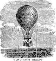 Vintage Illustrations Old Aerostat Or Hot Air Balloon Vintage Illustration Antique
