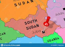 Южный Судан, Джуба - столица, приколотая на политической карте Иллюстрация  штока - иллюстрации насчитывающей судан, южный: 152508997