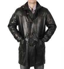 3 4 length black leather duffle coat sl120951
