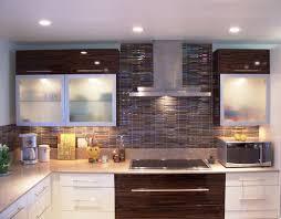 Glass Kitchen Backsplash Small Kitchen Decoration Using Dark Brown Glass Kitchen Backsplash