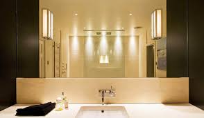 modern bathroom lighting luxury design. Modern Bathroom Lighting In Cream Themed With Extraordinary Led Lamps And Silver Metal Ceiling Round Shape Luxury Design