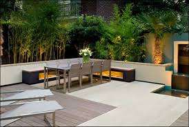 rooftop furniture. Rooftop Garden Design Ideas With Metal Outdoor Furniture And A Nice Lighting Set