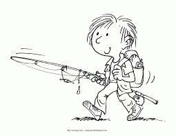 Boy Fishing Coloring Page - Coloring Home