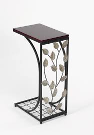 cool small black metal sofa table with decorative faux leaves elegant small sofa tables designs