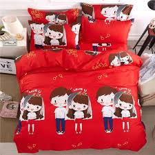 red cartoon characters bedding set twin full queen king size people lovely boy girl printing duvet
