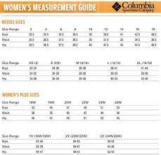 Columbia Vest Size Chart Columbia Womens Size Chart