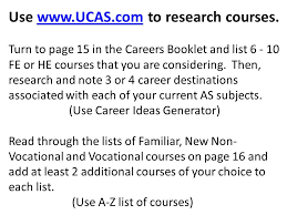 Vocational Careers List Course And University Choice Year 13 General Studies