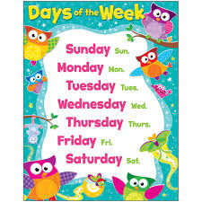 Week Days Chart Details About Days Of The Week Owl Stars Learning Chart Trend Enterprises Inc T 38447