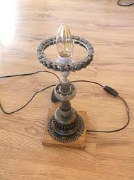 lamp motorcycle table lamp this has been made using reclaimed parts the main stem gearing