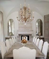 tuscan dining room in white with chandelier