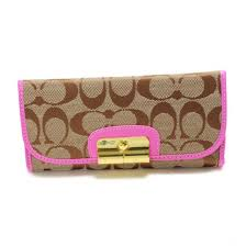 Coach Kristin In Signature Large Pink Wallets 22840