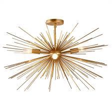 gold semi sputnik spike starburst modern glam flush