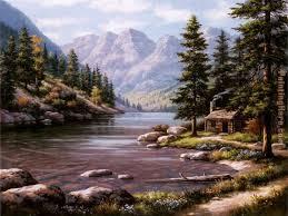 log cabin retreat painting sung kim log cabin retreat art painting