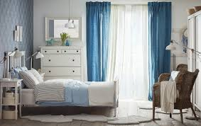 White bedroom furniture ikea Country Style Medium Sized Bedroom With White Bed For Two With Bedlinen In Light Blue And Ikea Bedroom Ikea