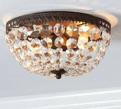 mia faceted crystal flush mount