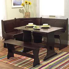 black dining room furniture sets. This 3-piece Breakfast Nook Is An All-wood (manufactured Wood) Dark Black Dining Room Furniture Sets