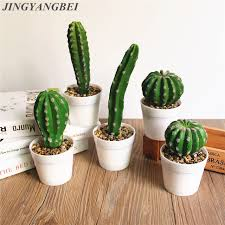 office table decoration. 1 Set Artificial Cactus Potted Plant Vase Simulation Tropical Plants Wedding Decoration For Home Office Table
