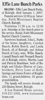 Obituary for Effie Lane Bunch Parks - Newspapers.com