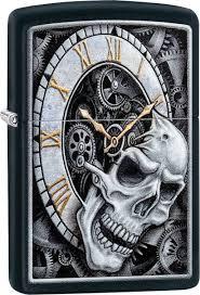 <b>Зажигалка ZIPPO Skull Clock</b> с покрытием Black Matte, латунь ...