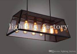 rectangular pendant light. Rh Loft Edison Box Chandelier Rectangular Pendant Lamp Iron Within Light Decor 10