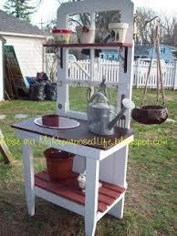 door repurposed into a potting bench