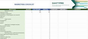 Marketing Checklist Free Download Excel Template