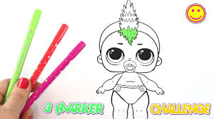 3 Marker Challenge Lol Coloring Pages For Children Youtube