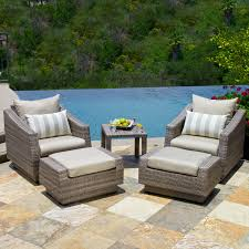 rst brands cannes slate 5 piece club chair and ottoman with side table hayneedle