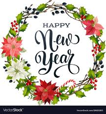 New Design Floral Happy New Year Lettering Banner For Web Or Social