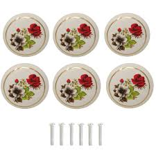 Yueton 6pcs 1 12 Inch Hand Painted Ceramic Knobs Kitchen Cabinet