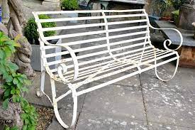 antique iron strapwork garden bench v58