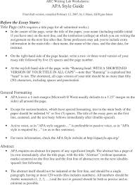 Arc Writing Lab Worksheets Apa Style Guide Final Draft Version
