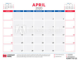 April 2020 Template April 2020 Calendar Planner Stationery Design Template