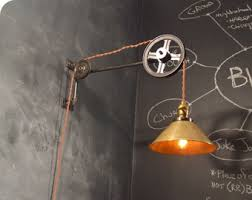 etsy industrial lighting. vintage industrial pulley light brass cone shade lamp wall mount etsy lighting i