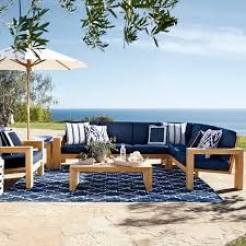 larnaca outdoor 3 piece l shaped teak sofa sectional left o