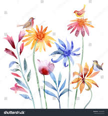 watercolor painting flowers and birds