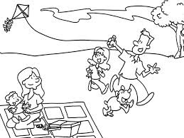Small Picture Father and His Daughter Playing Kite in Picnic Coloring Page NetArt