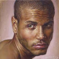 adam julian hsiung oil on canvas contemporary figurative artist handsome african american black man face male head portrait painting