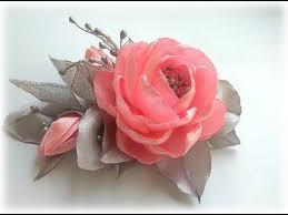 Цветы из атласных лент. <b>Зажим для волос</b>. Канзаши МК/DIY ...
