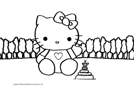 Taart Kleurplaat Hello Kitty Shshiinfo