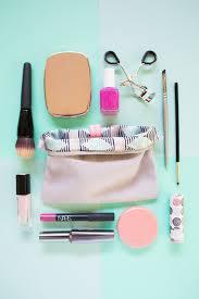 organized makeup bag with makeup