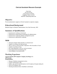 Clerical Resume Objective Examples Clerical Resume Example Under Fontanacountryinn Com