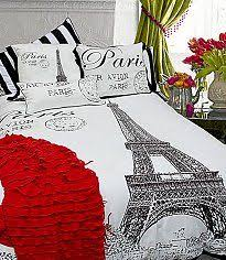 Teen Girl Bedroom ❤ Large Eiffel Tower Black/White Print Mixed With Paris  And Bold Stripe Pillow